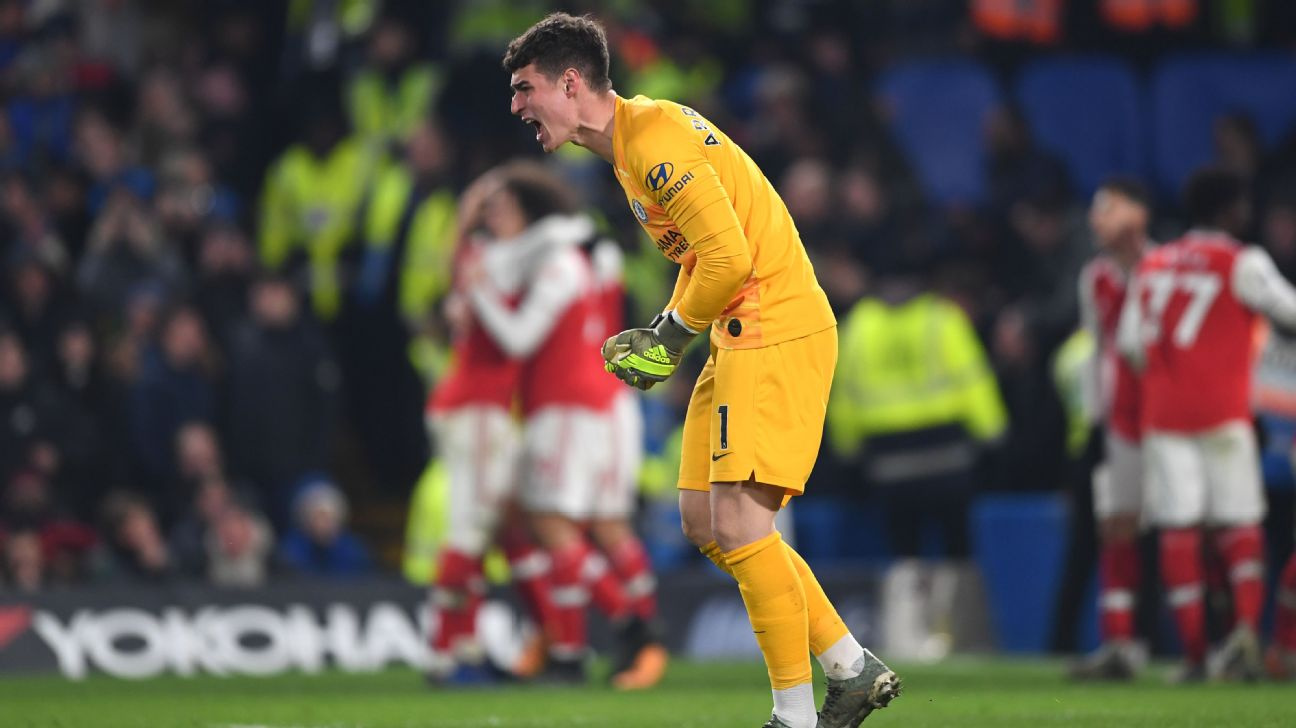 Kepa Arrizabalaga reacts during Chelsea's Premier League draw vs. Arsenal.