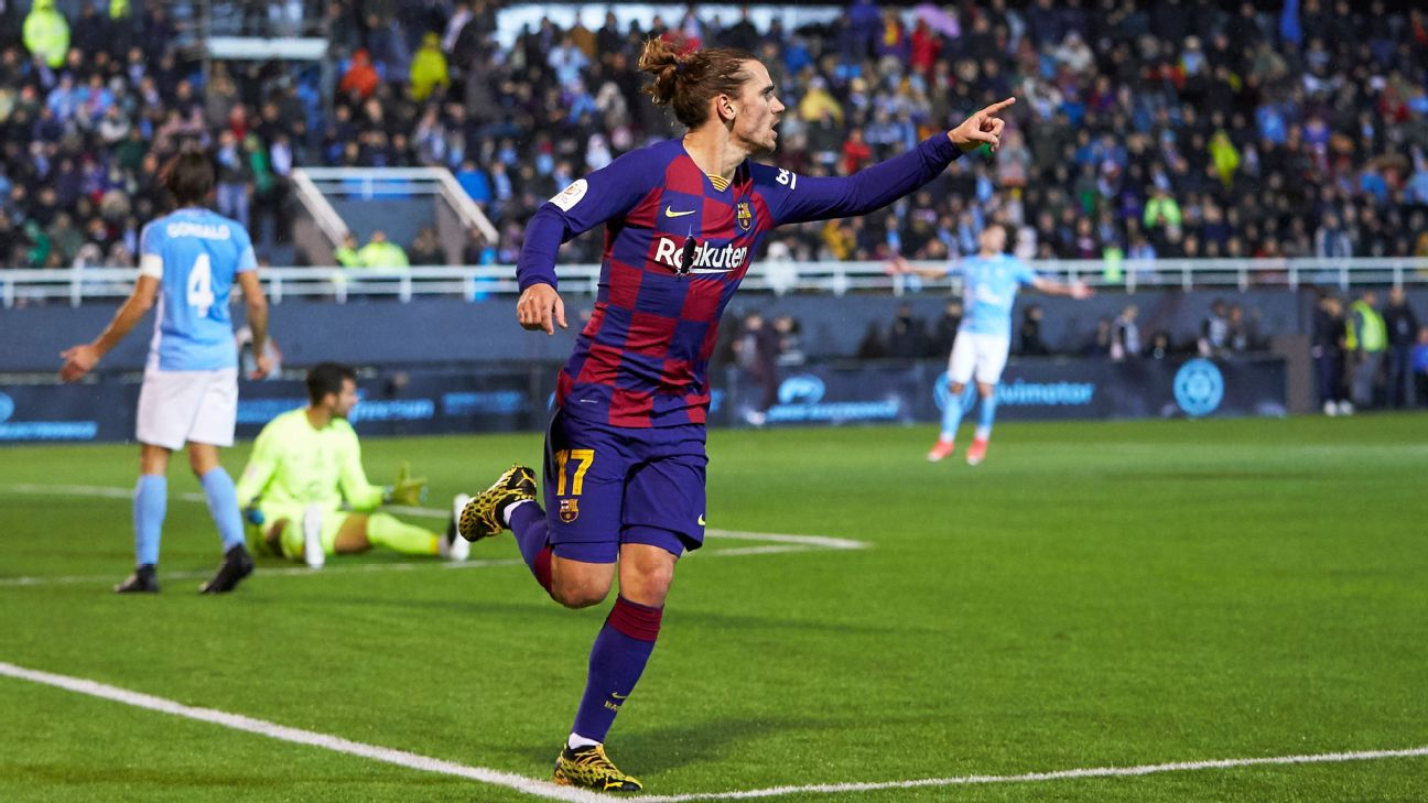 Antoine Griezmann celebrates after scoring a goal for Barcelona in the Copa del Rey.