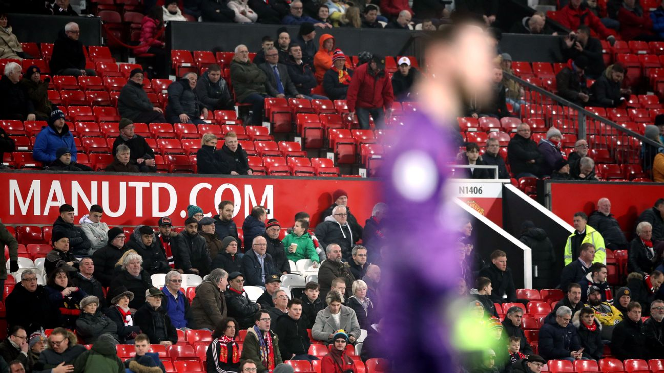 Many fans left far before full-time of Manchester United's loss to Burnley at Old Trafford.