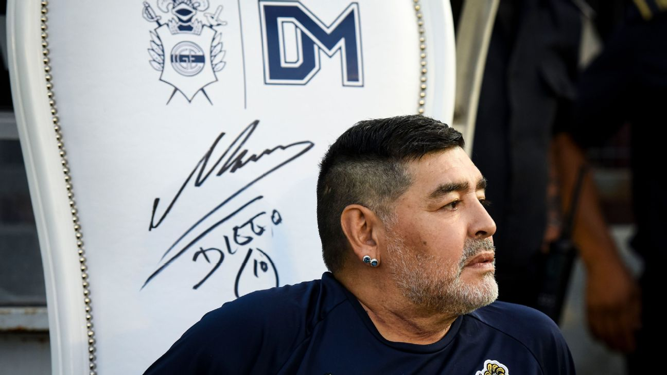 Diego Maradona coach of Gimnasia y Esgrima La Plata looks on before a match against Velez.