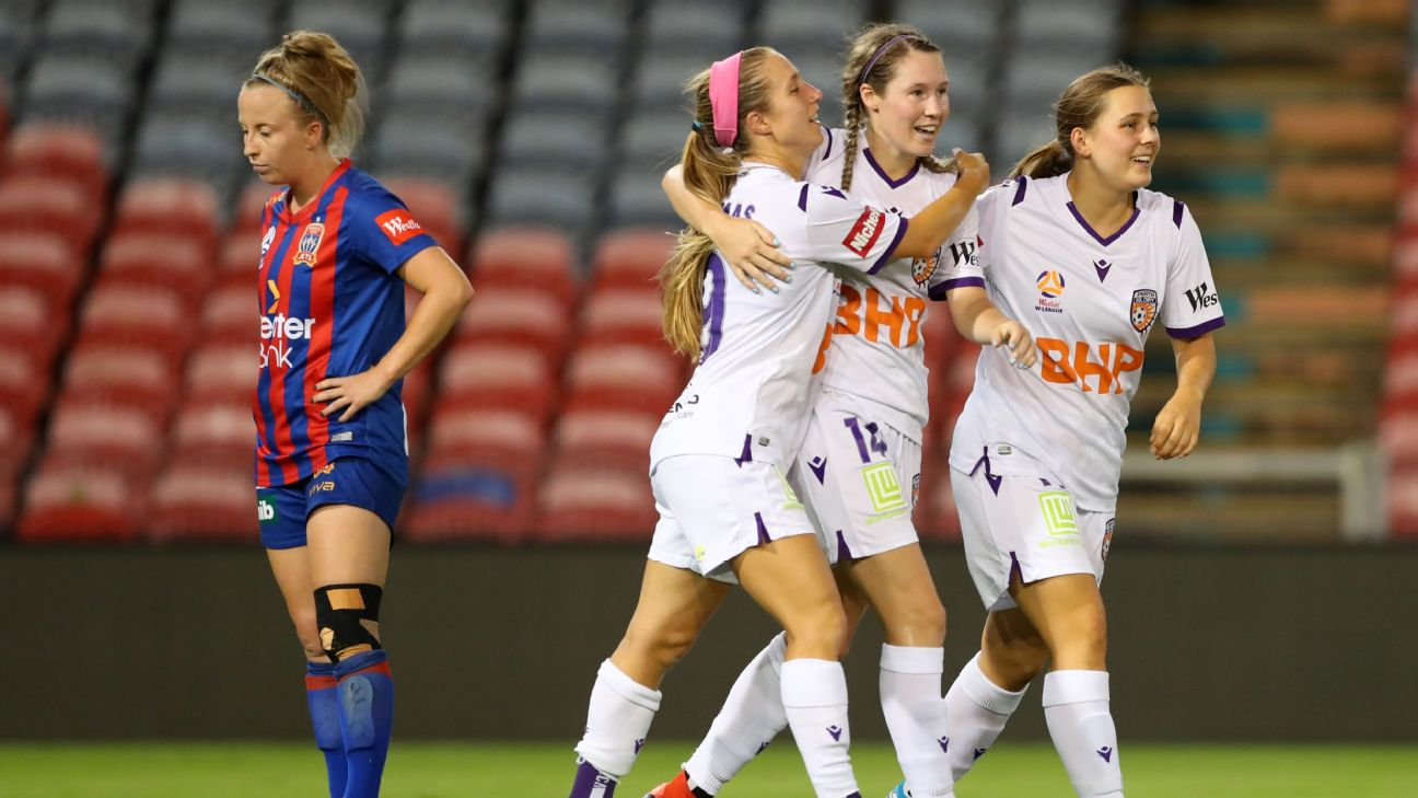 Perth Glory players celebrate during their W-League win over Newcastle Jets.