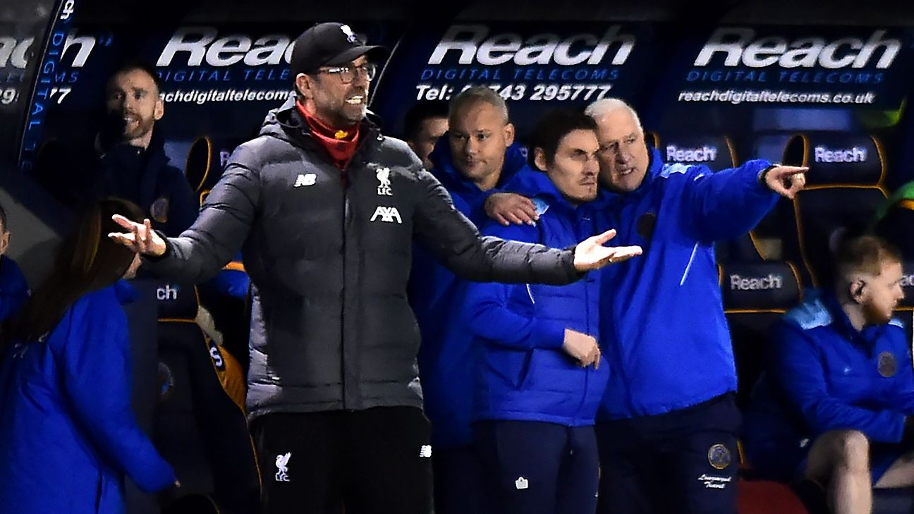 Jurgen Klopp reacts on the sidelines during Liverpool's FA Cup draw with Shrewsbury Town.