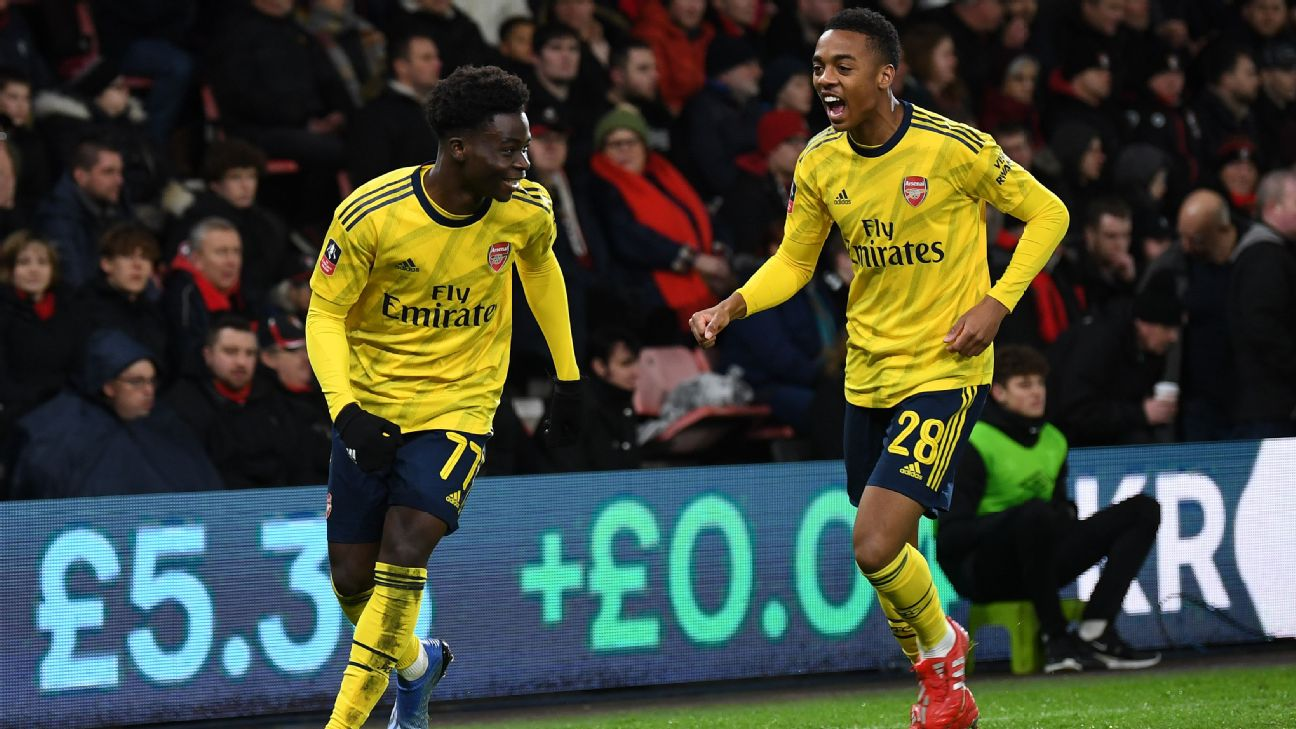 Bukayo Saka and Joe Willock celebrate during Arsenal's FA Cup match at Bournemouth.
