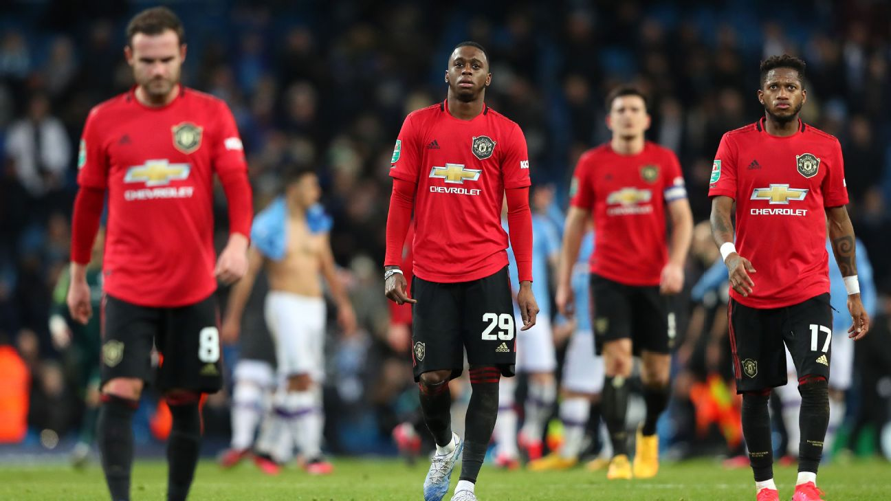 Manchester United players walk off the pitch following their Carabao Cup win over Manchester City.