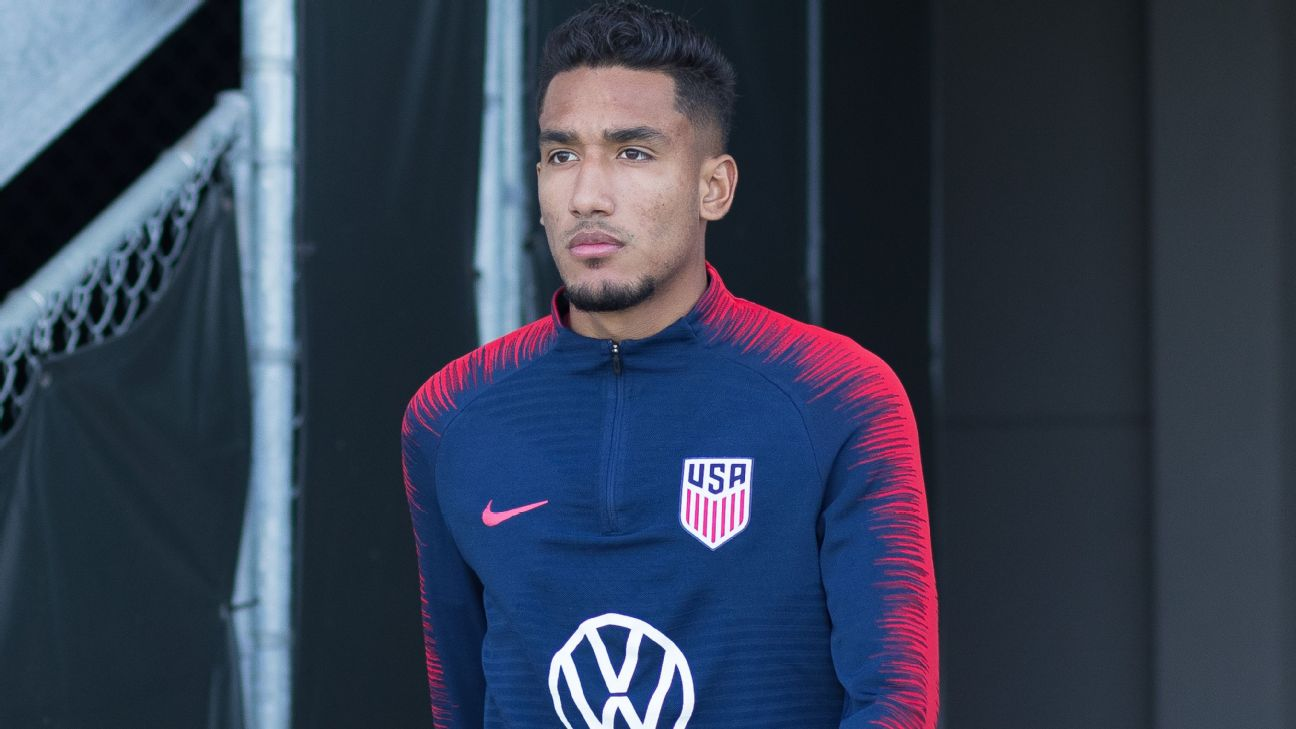 Jesus Ferreira takes the field for training during the annual January U.S. national team camp.
