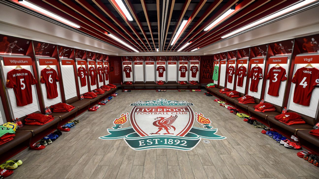 Liverpool's dressing room ahead of their Premier League match against Southampton.