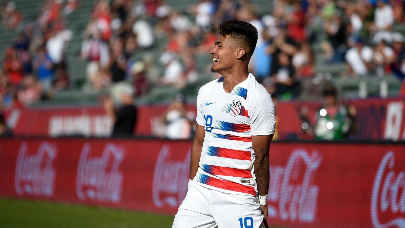 United States forward Ulysses Llanez celebrates after scoring a goal against Costa Rica.