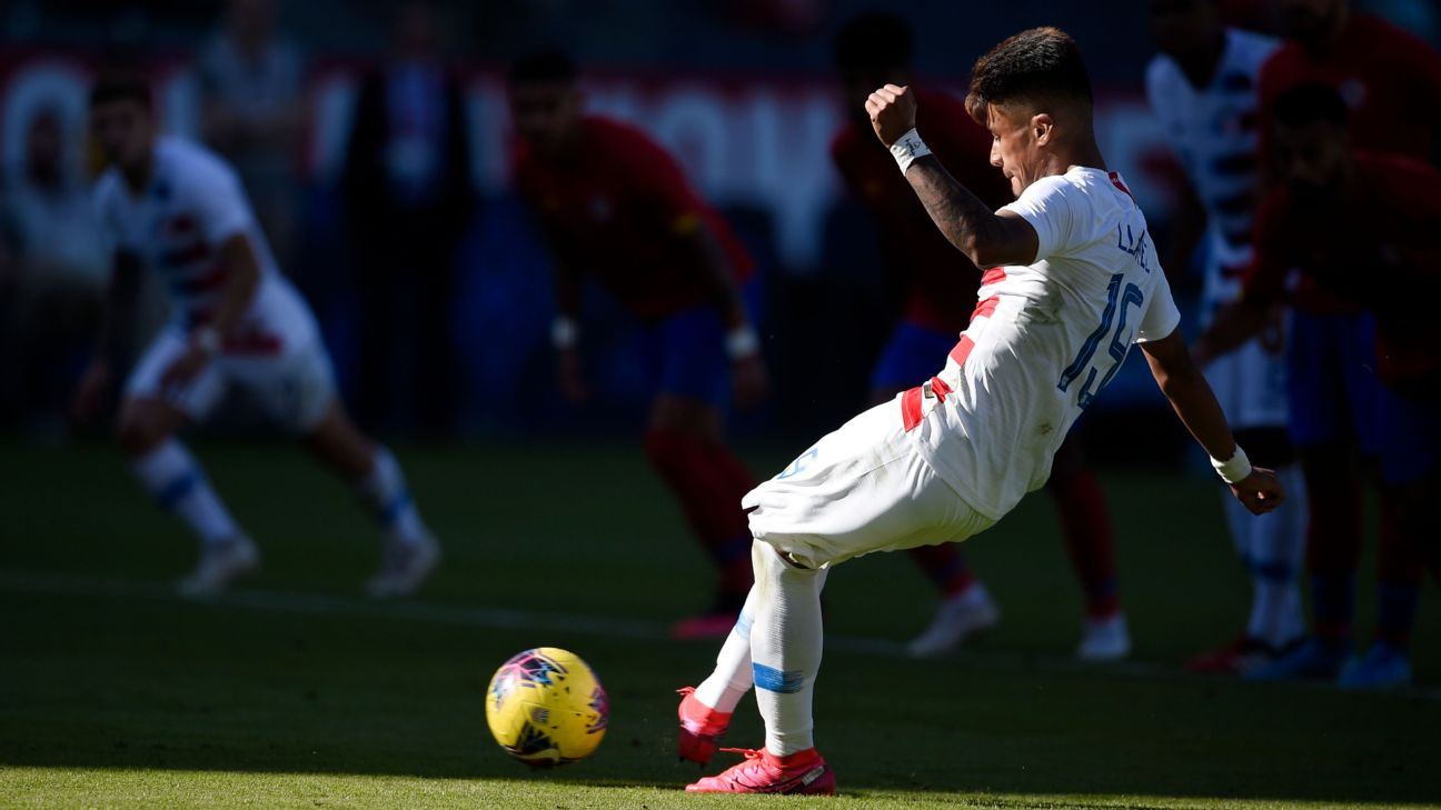 United States forward Ulysses Llanez converted from the penalty spot in a win over Costa Rica.