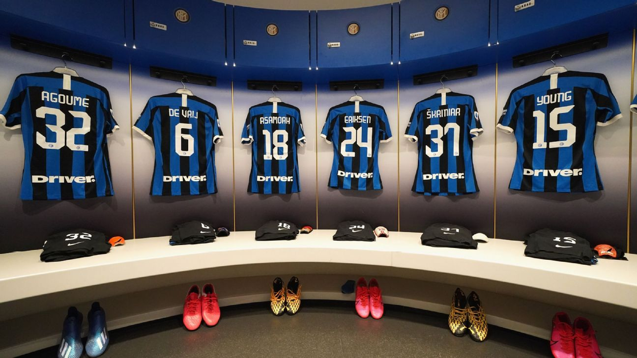 Inter Milan dressing room ahead of the Milan derby at the San Siro.