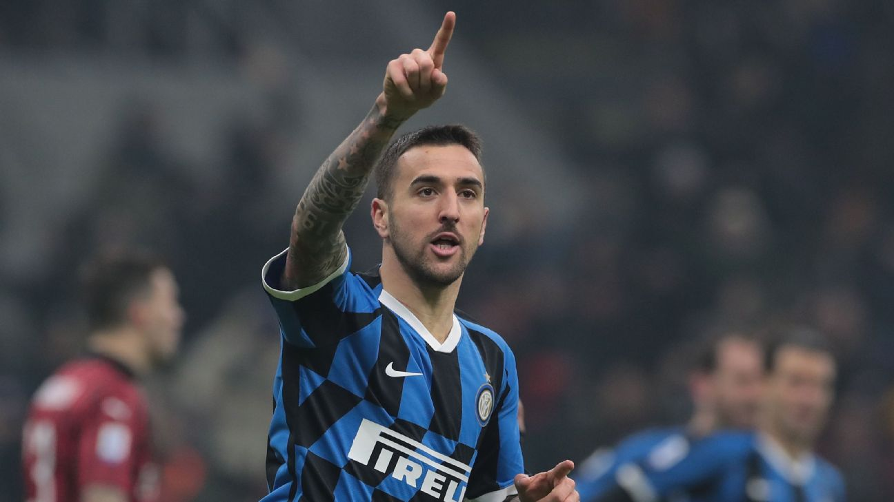 Matias Vecino celebrates after scoring in Inter's Serie A match against AC Milan.