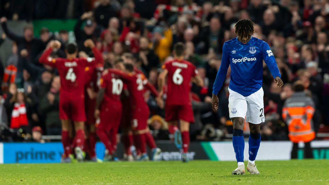 Moise Kean looks on after Everton's Premier League defeat to Liverpool.