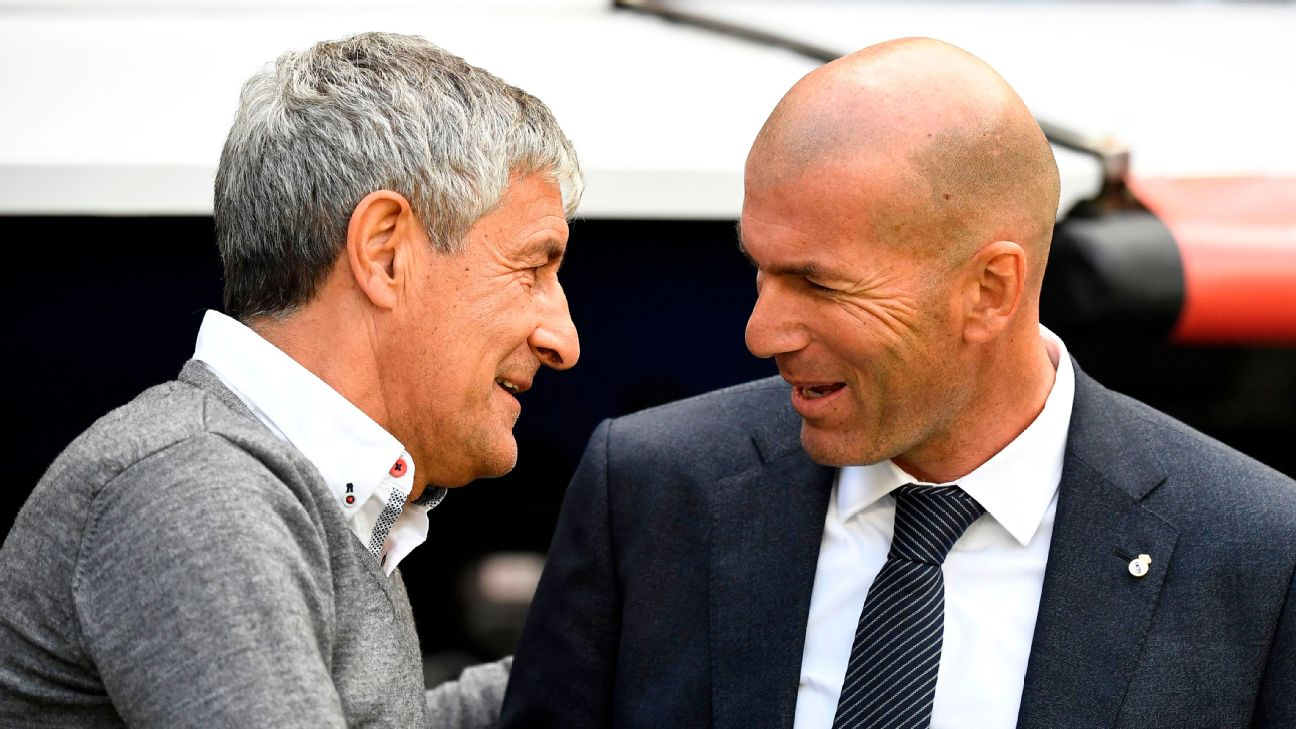 Zinedine Zidane and Quique Setien speak ahead of the La Liga match between Real Madrid and Real Betis.