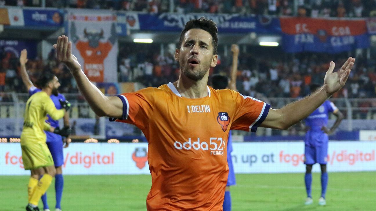FC Goa's Ferran Corominas celebrates one of his goals against Mumbai.