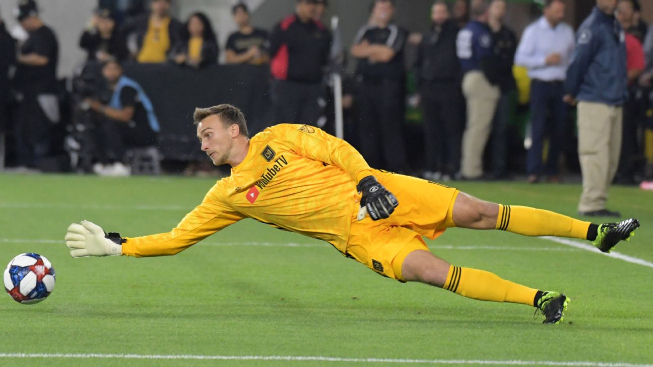 Tyler Miller makes a save during LAFC's MLS match against the Chicago Fire.