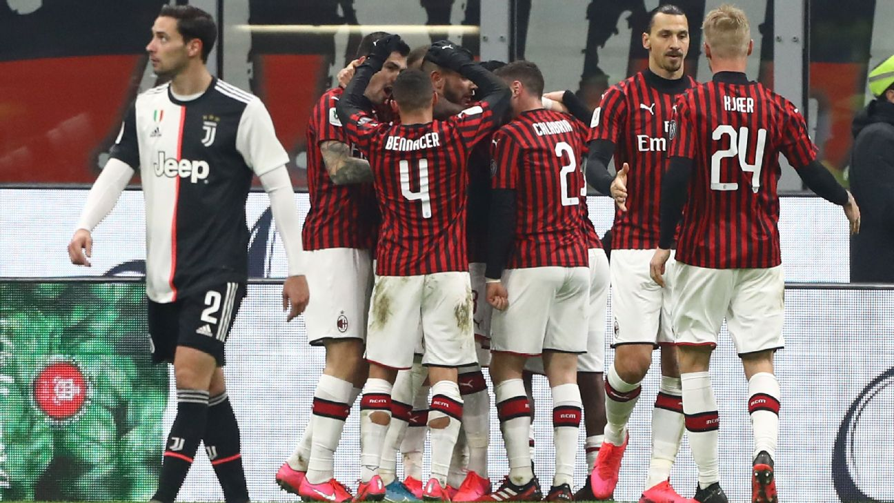 AC Milan players celebrate during their Coppa Italia match against Juventus.