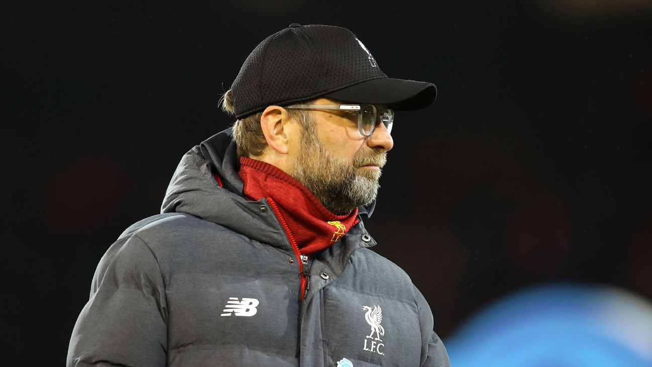Liverpool manager Jurgen Klopp looks on during his team's Premier League match against Norwich.