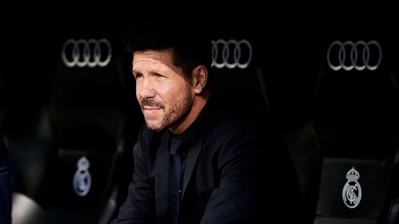 Diego Simeone looks on during Atletico Madrid's La Liga match against Real Madrid.
