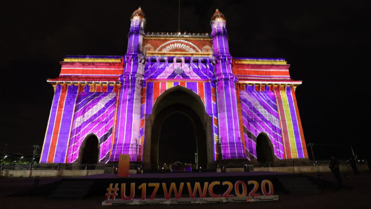 The Gateway of India illuminated with lights during the Official Emblem Launch of the FIFA U-17 Women's World Cup