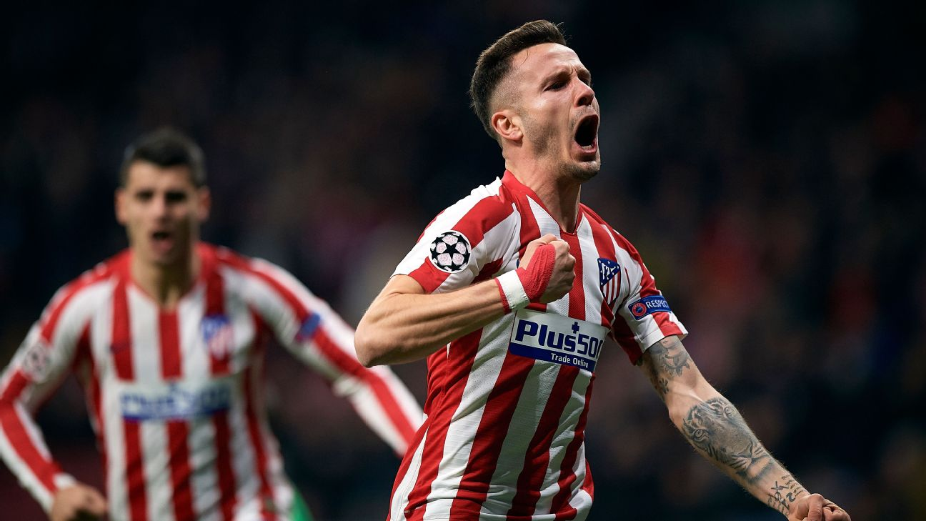 Saul celebrates after scoring in Atletico Madrid's Champions League win over Liverpool.