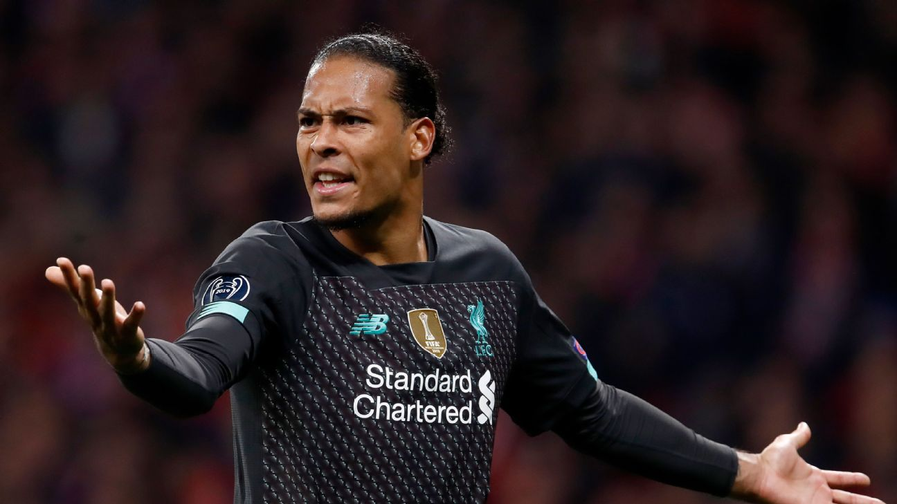Virgil van Dijk reacts during Liverpool's Champions League loss to Atletico Madrid on Tuesday.