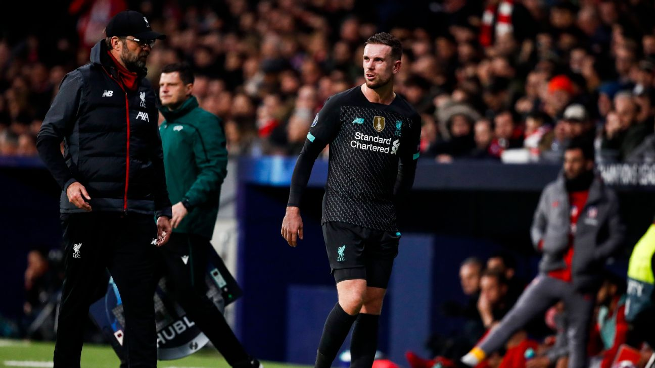 Jordan Henderson limped off during Liverpool's Champions League last 16 first-leg defeat at Atletico Madrid on Tuesday.