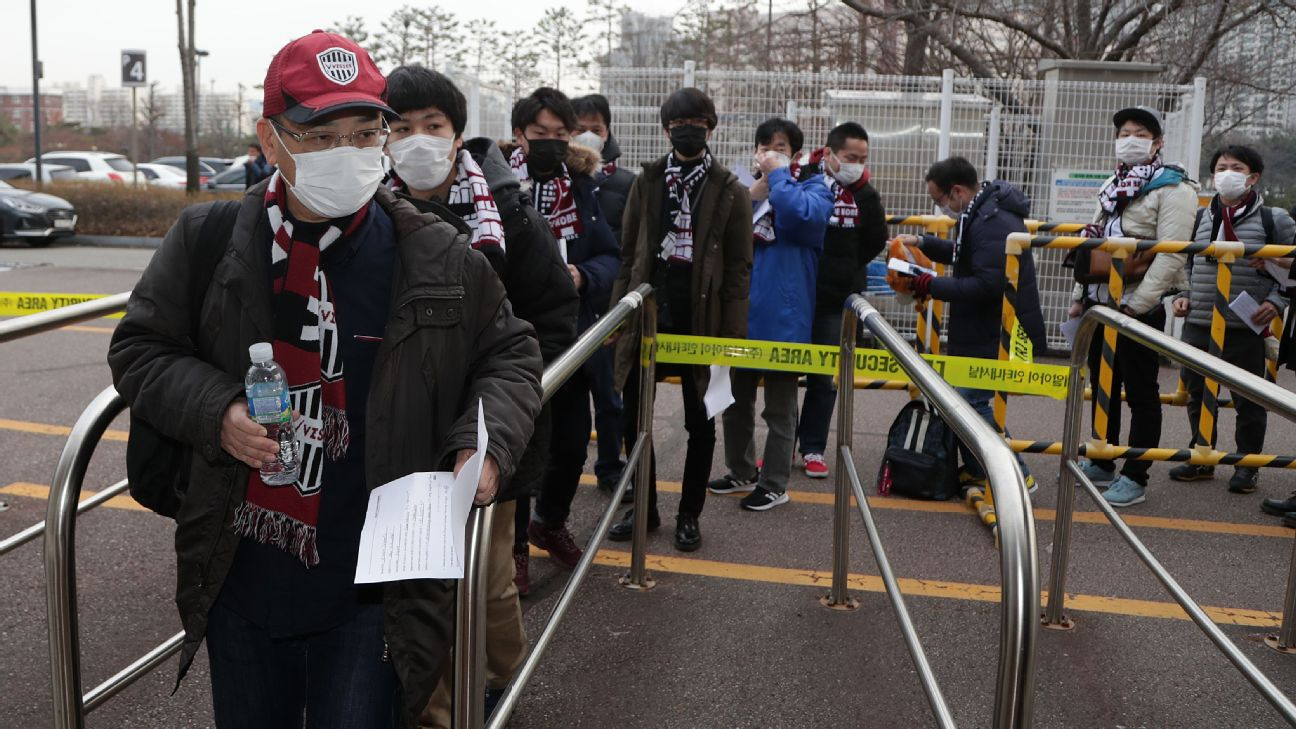 Fans at Vissel Kobe's last match against Suwon Samsung Bluewings in Korea had to submit a medical questionnaire and have their temperatures taken to be allowed in.