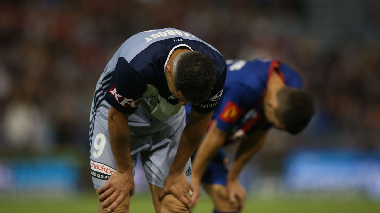 Andrew Nabbout reacts during Melbourne Victory's draw with Newcastle Jets.