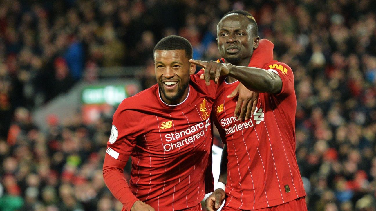 Georginio Wijnaldum and Sadio Mane celebrate during Liverpool's Premier League win against West Ham.