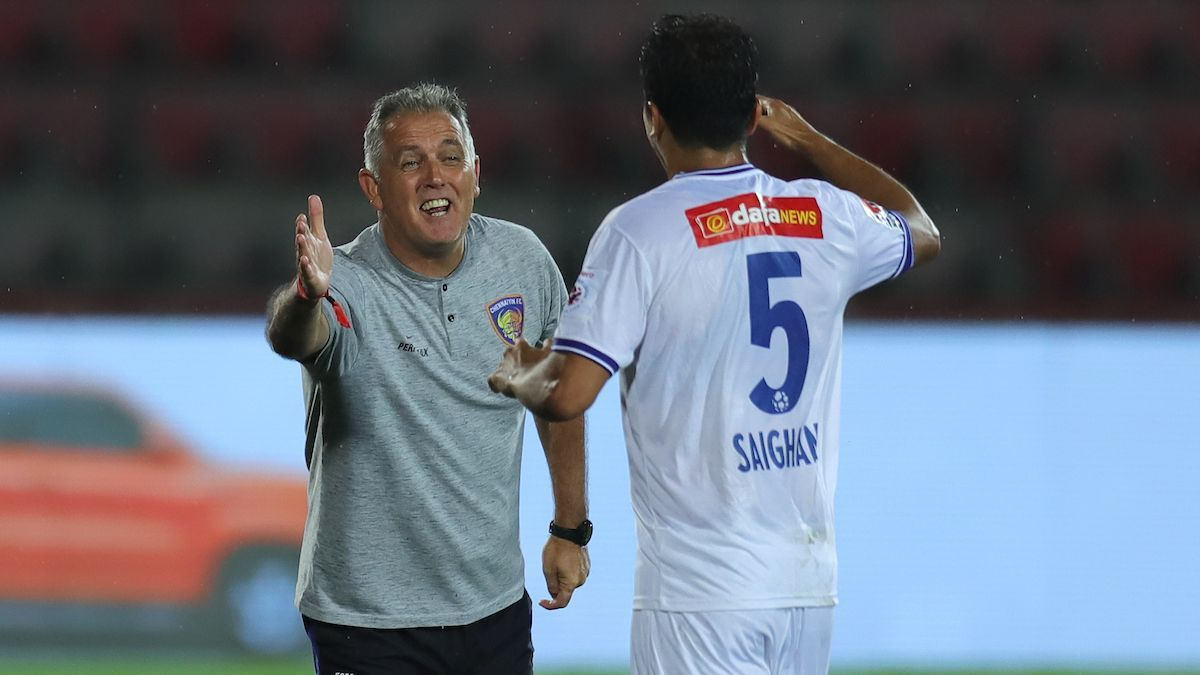 Masih Saighani of Chennaiyin FC celebrates his goal vs NorthEast United with head coach Owen Coyle.