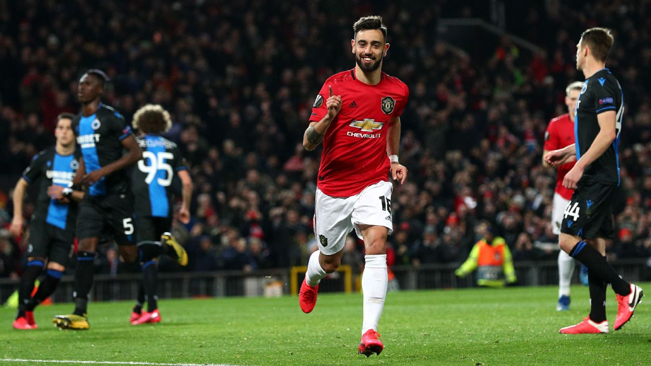Bruno Fernandes celebrates after scoring in Manchester United's Europa League win over Club Brugge.