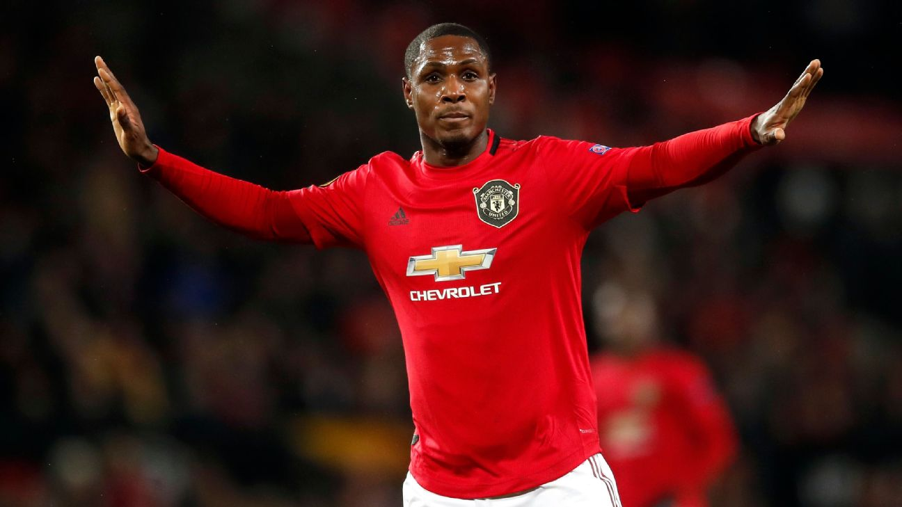 Odion Ighalo celebrates his first goal for Manchester United, scored against Club Brugge in the UEFA Europa League tie at Old Trafford.