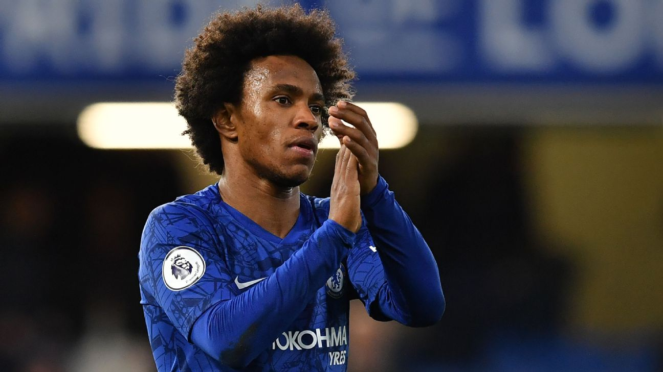 Willian looks on during Chelsea's Premier League match against Burnley.