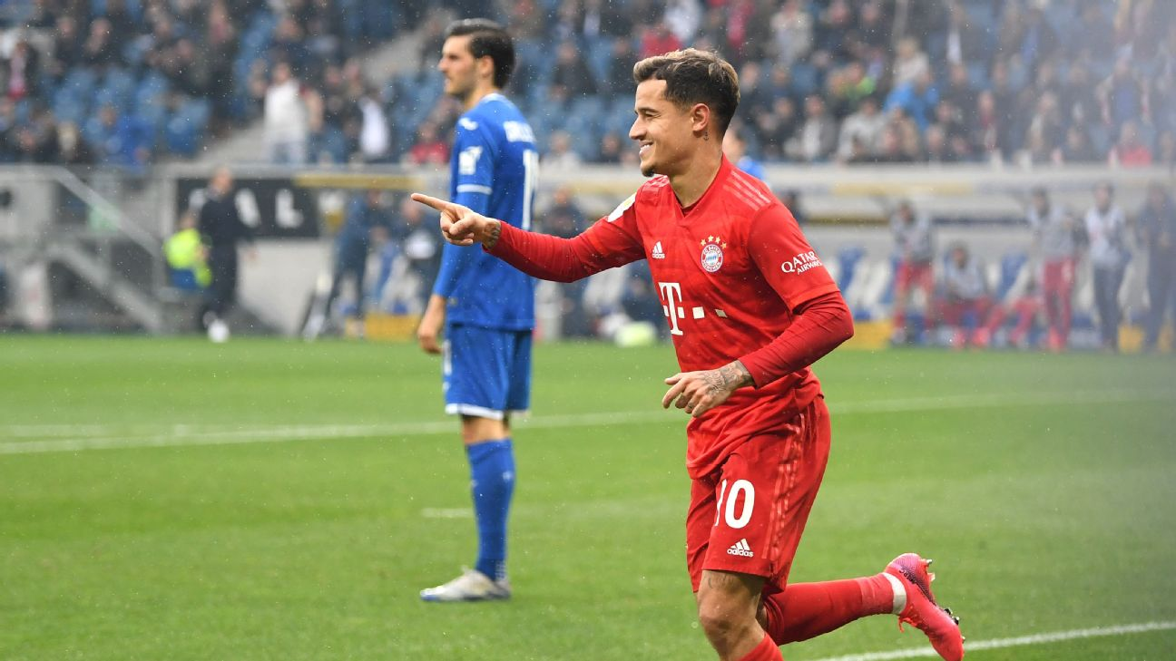 Philippe Coutinho of Bayern Munich celebrates after scoring his sides fifth goal
