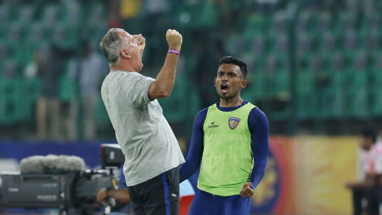 Chennai coach Owen Coyle celebrates a goal during his team's 4-1 win over Goa.