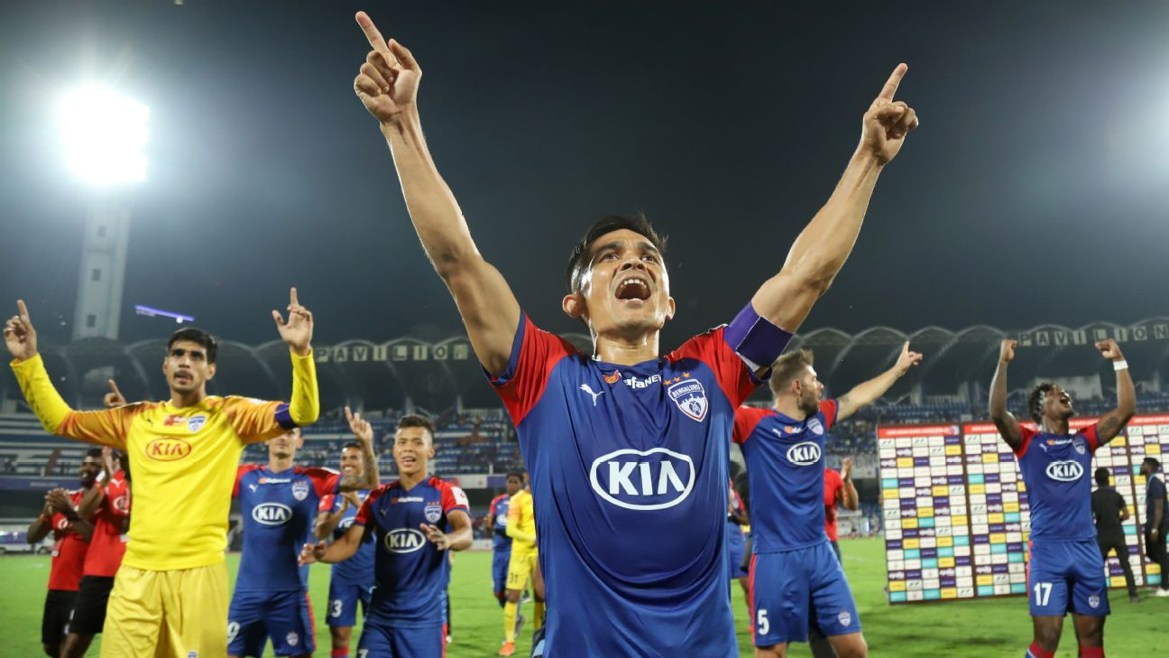 Captain Sunil Chhetri and co. celebrate BFC's first-leg win in their ISL semifinal against ATK.
