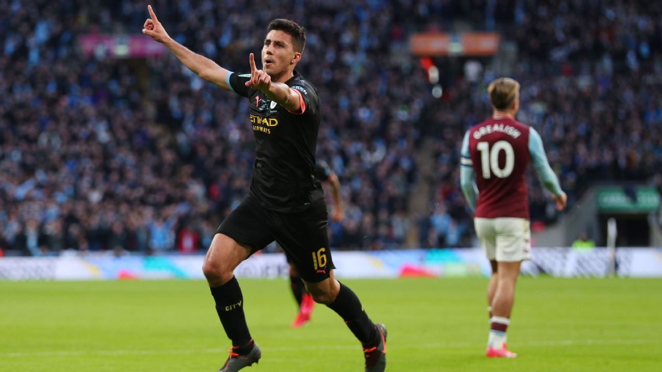 Rodri celebrates after scoring in Manchester City's Carabao Cup final win over Aston Villa.