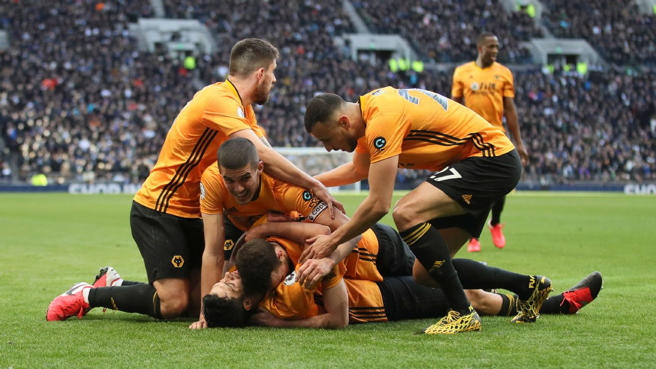Wolves players celebrate during their Premier League win over Tottenham.