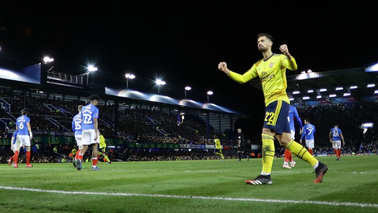 Pablo Mari celebrates during Arsenal's FA Cup win at Portsmouth.