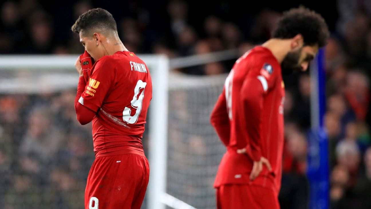 Roberto Firmino and Mohamed Salah react after Liverpool's FA Cup loss to Chelsea.