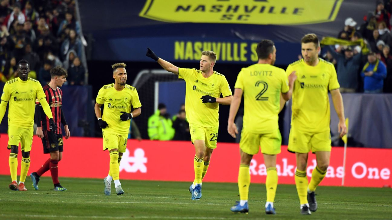 Walker Zimmerman celebrates after scoring in Nashville's MLS loss against Atlanta United.