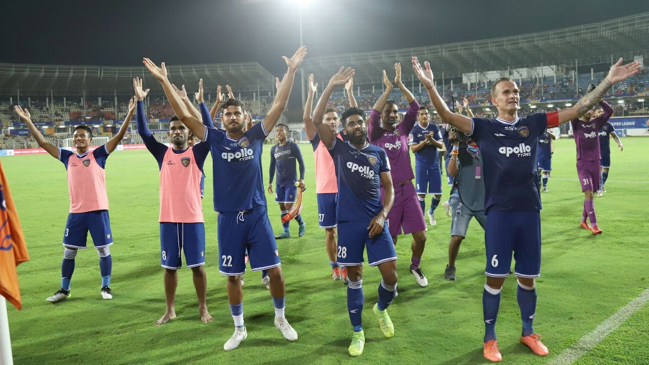 Chennaiyin FC celebrate along with their away fans, with the now ubiquitous 'Viking clap'.