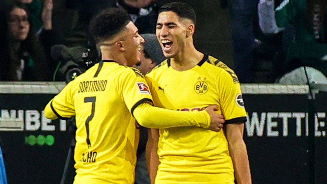 Achraf Hakimi celebrates with Jadon Sancho after scoring against Borussia Monchengladbach.