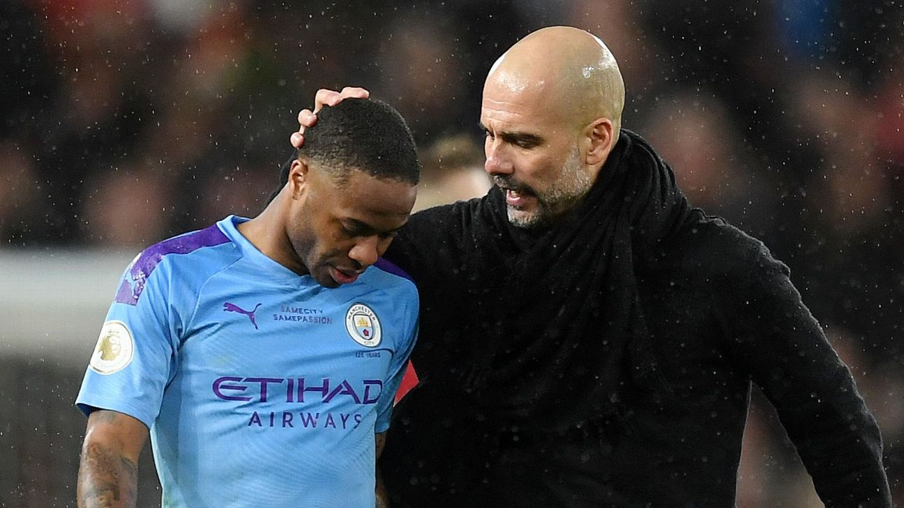 Raheem Sterling and Pep Guardiola