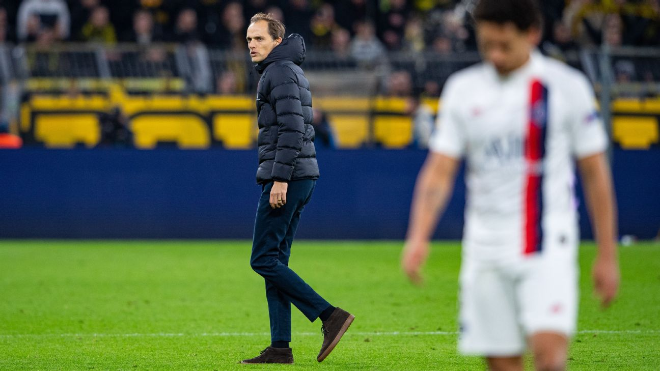 Thomas Tuchel looks on after Paris Saint-Germain's Champions League match at Borussia Dortmund.