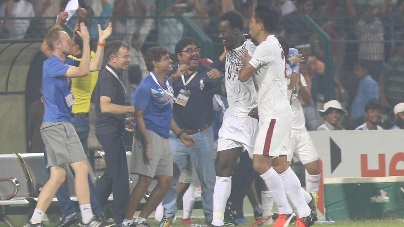 Baba Diawara celebrates his goal that saw Mohun Bagan beat Aizawl and win the I-League title on March 10.