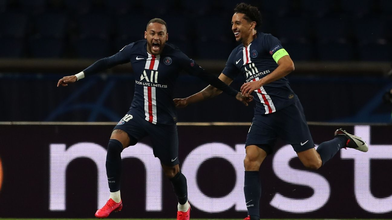 Neymar and Marquinhos celebrate during Paris Saint-Germain's Champions League win over Borussia Dortmund.