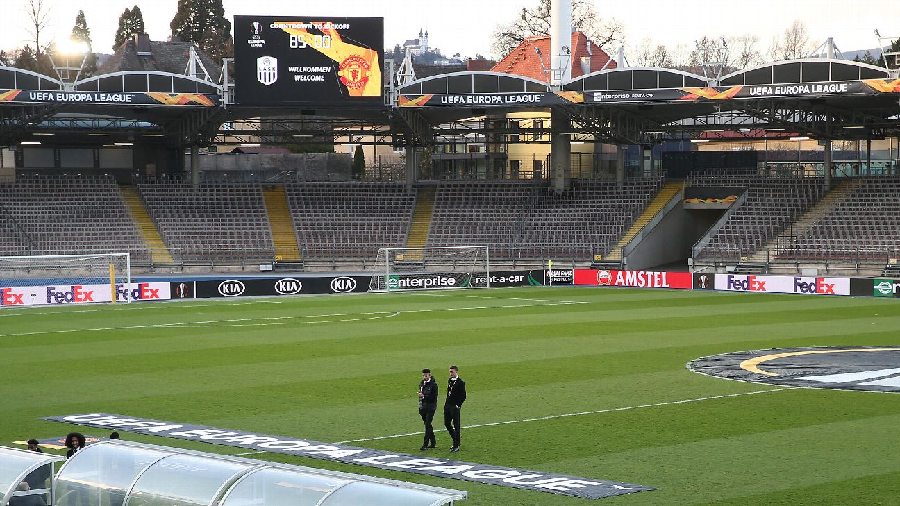 Linzer Stadion ahead of LISK's Europa League match against Manchester United.