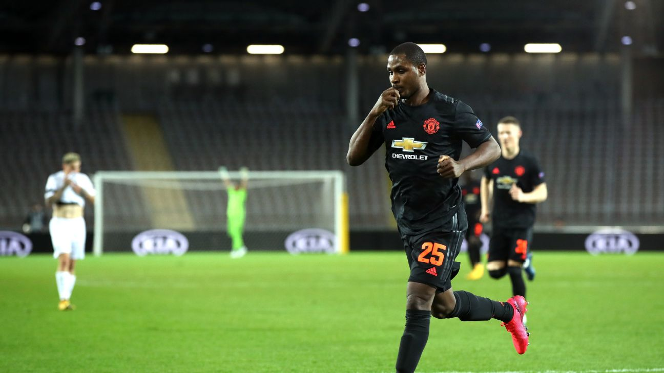 Odion Ighalo celebrates after scoring a goal for Manchester United against LASK.