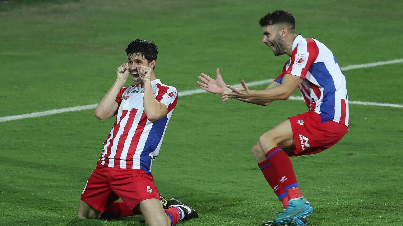 Edu Garcia celebrates after scoring in the 2019-20 ISL final. The new regulations will see the number of non-Asian foreigners in the playing XI reduced to three.