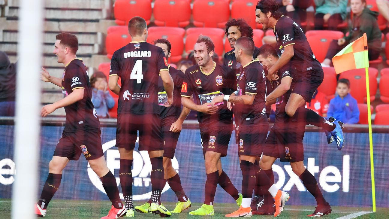 Newcastle celebrates after scoring the teams third goal during the round 23 A-League match between Adelaide United and the Newcastle Jets